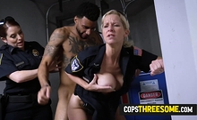 Thin suspect is coerced by horny milf cops into banging them
