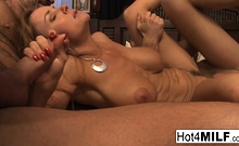 Busty blonde MILF gets two hot loads on her face