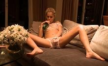 Blonde Carla Cox solo masturbation action in her room
