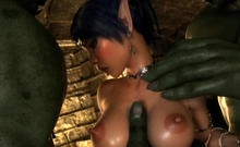 3D Elf Babe Creampied by Orcs!