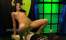 Perfect anal dp and bukkakes on hot brunette
