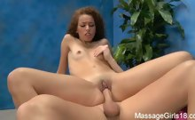 Naughty girl Chloe fucks her massage client after a rub down