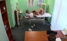Brunette lesbian patient licks the nurses wet pussy