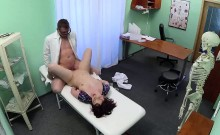 Petite brunette patient gets fucked by her doctor