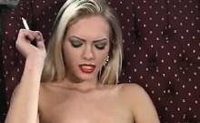 Hot Blonde Slut Smoking